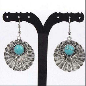 Turquoise Web Earrings Silver